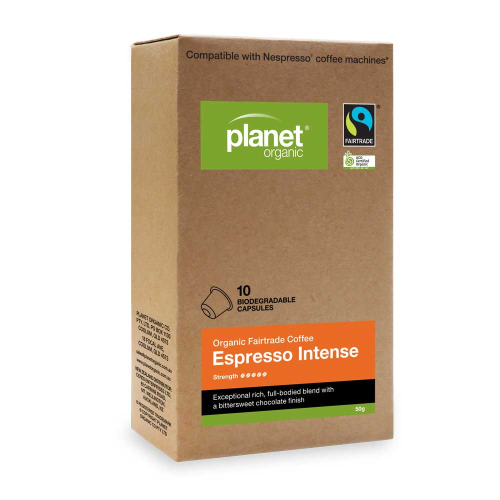 PLANET ORGANIC Coffee Capsules Espresso Intense x 10 Pack