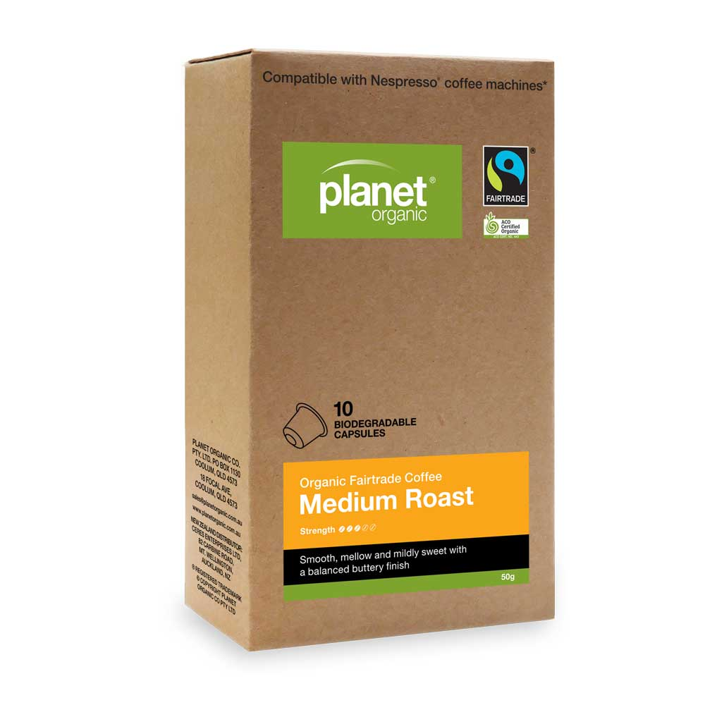 PLANET ORGANIC Coffee Capsules Medium Roast x 10 Pack