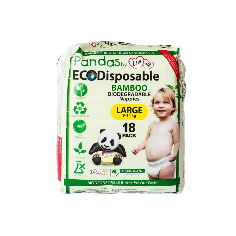 Luvme Bamboo Disposable Nappies Large (9-14kg) x 18