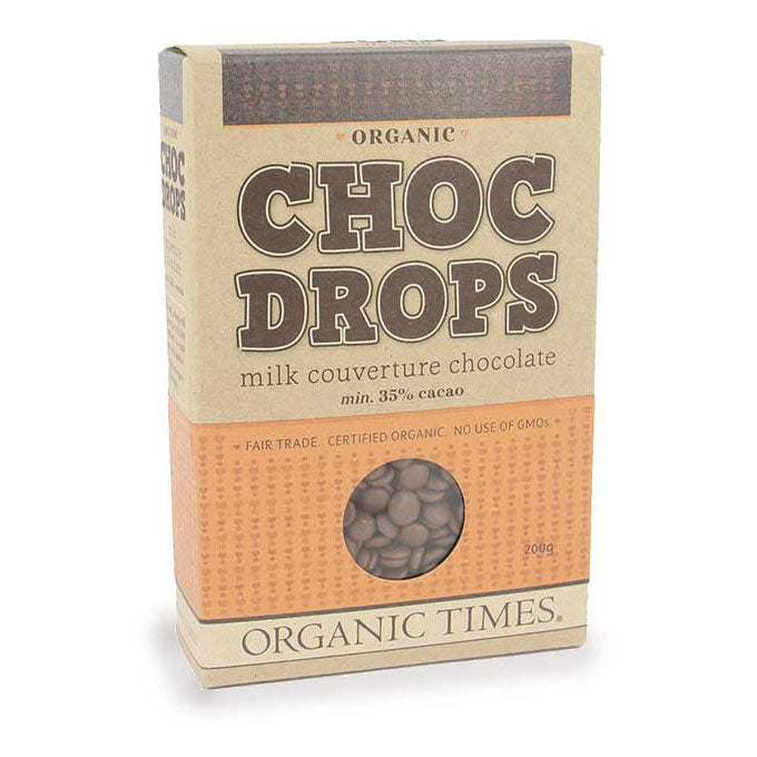 Organic Times Choc Drops Milk Chocolate 200g