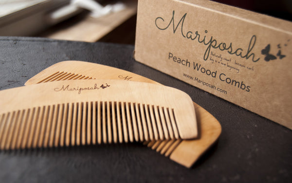 Peach Wood Comb 2 Pack