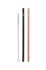Cheeki Straight Stainless Steel Straws 2 Pack - Rose Gold, Black & Cleaning Brush