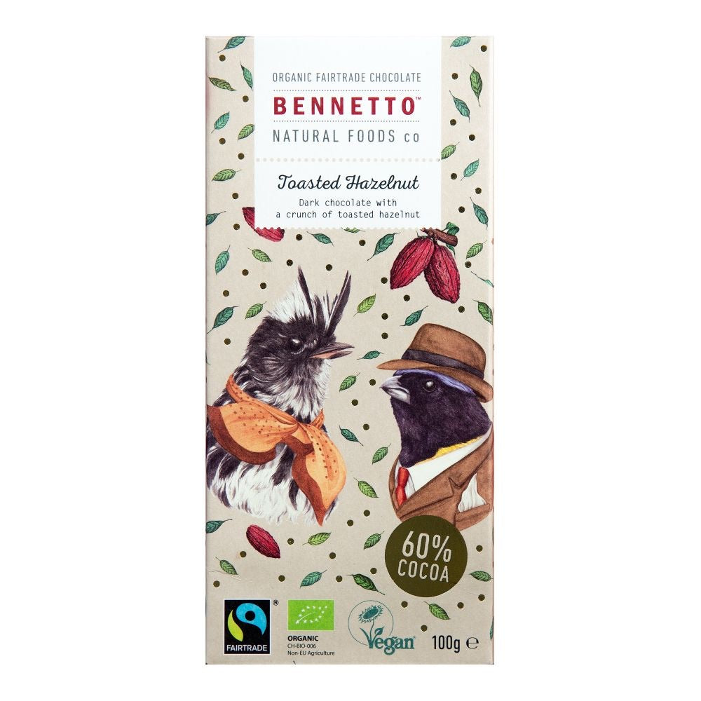 BENNETTO Organic Dark Chocolate Toasted Hazelnut 100g