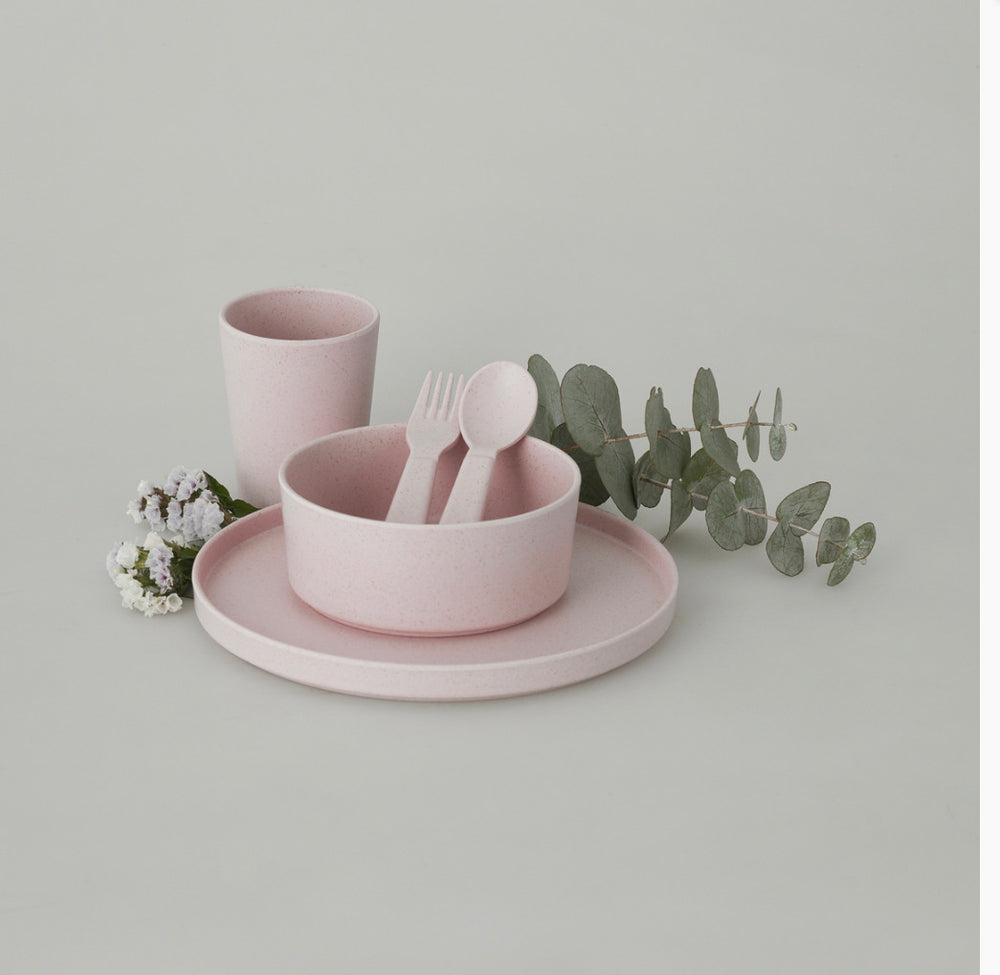 AMELIA FRANK Children's Bamboo Dinnerware 5 Piece | Sunset Rose