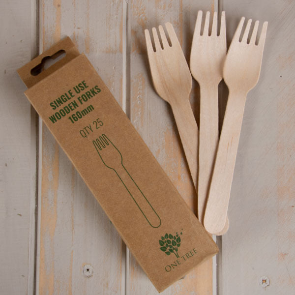 One Tree Wooden Fork Pack of 25