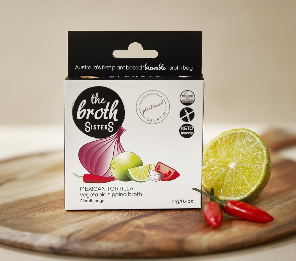 THE BROTH SISTERS Vegetable Sipping Broth Bags Mexican Tortilla x2
