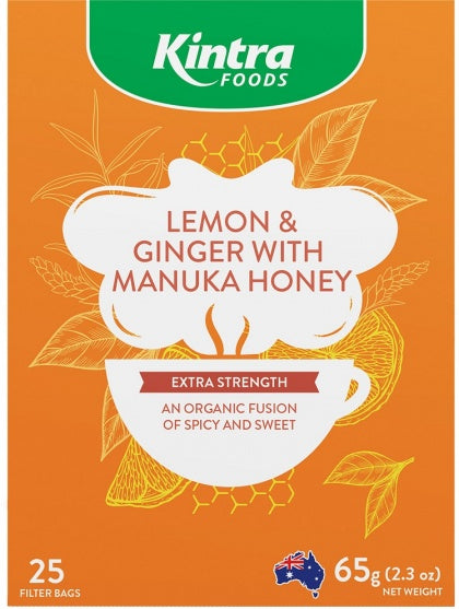 Kintra Foods Lemon and Ginger with Manuka honey x25 teabags