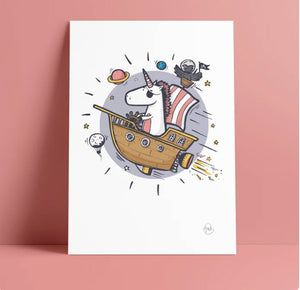 Imagination Artwork Print // Pirate Unicorn