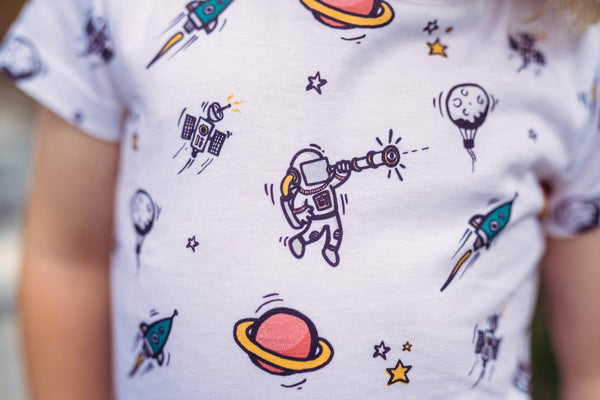 Kids Organic Cotton Longline Tee // Outer Space
