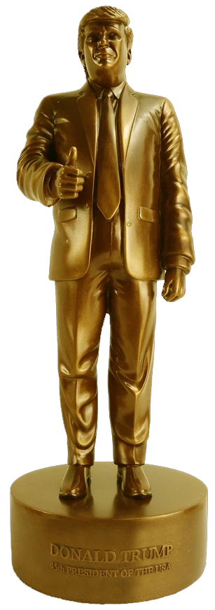 gold plated donald trump statue