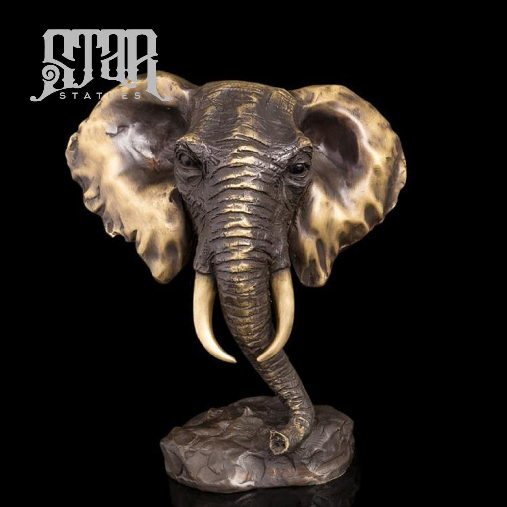 Elephant Head Bust | Animal and Wildlife Sculpture | Bronze Statue - Star Statues