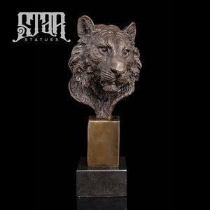 Tiger Head Bust | Animal and Wildlife Sculpture | Bronze Statue - Star Statues
