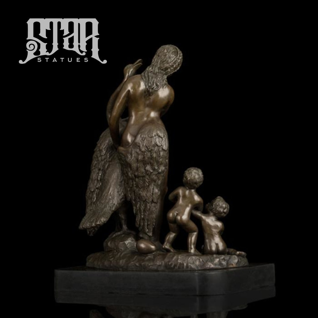Women And Children With Bird | Western Art Sculpture Bronze Statue
