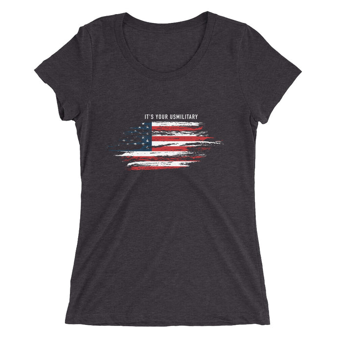 Ladies' short sleeve USM Flag Tri-blend t-shirt