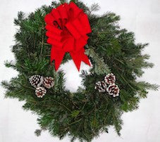 Fresh Evergreen Wreath (Please add name of loved one, plus section, lot and grave # in Order Notes)