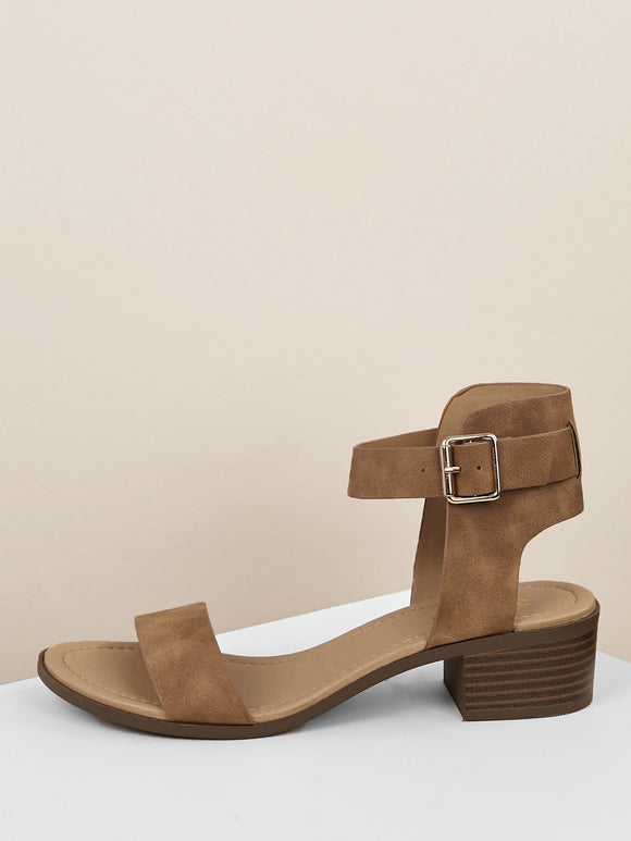 Buckle Ankle Strap Low Block Heels