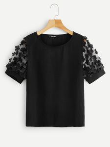 Flower Appliques Mesh Sleeve Top