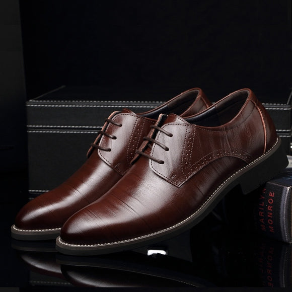 New Business Suits Shoes Men's Leather Shoes Lace Up Leather Shoes Casual Shoes Fashion Wedding Shoes