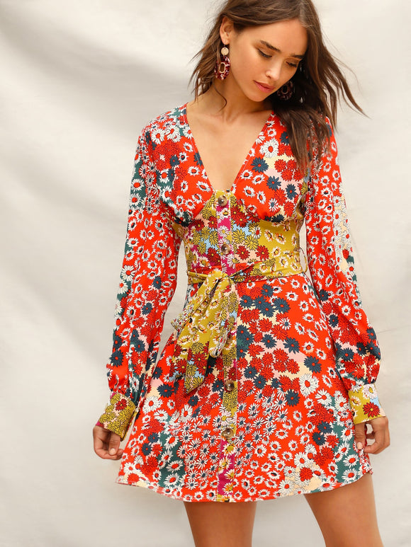 Button Front Floral Belted Dress