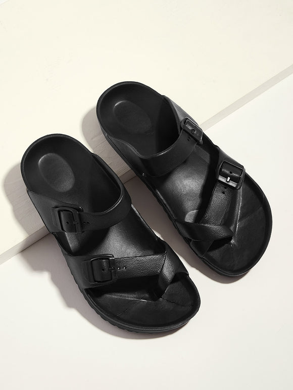 Men Toe Ring Double Buckle Strap Sandals