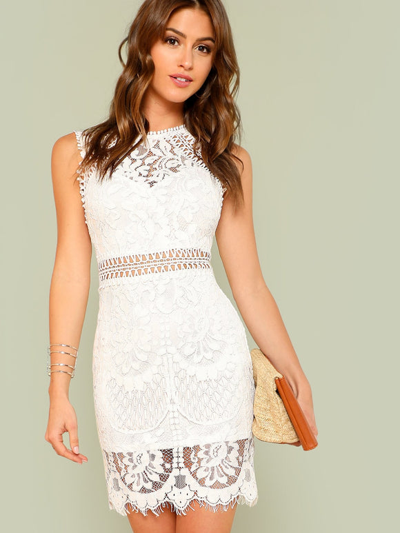 Scalloped Hem Guipure Lace Bodycon Dress