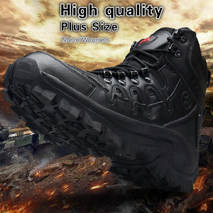Men's Women's Military Tactical Boots Full Grain Leather Police Duty Water Resistant Boots with Side Zipper
