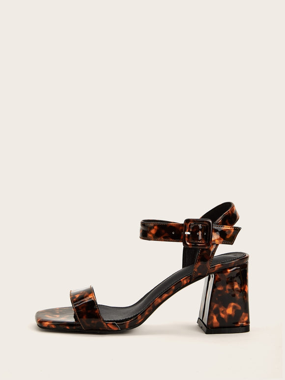Animal Pattern Slingback Chunky Heels