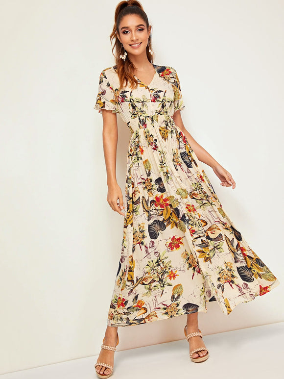 Botanical Print Shirred Waist Button Front Dress