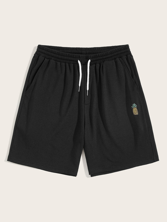 Men Drawstring Waist Pineapple Shorts