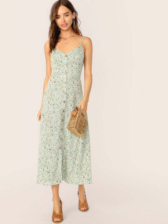 Button Front Ditsy Flora Print Slip Dress