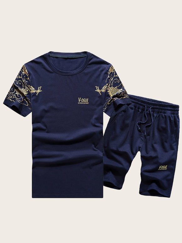 Men Dragon & Letter Print Tee With Drawstring Shorts