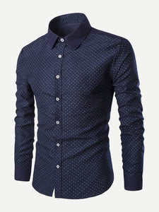 Men Polka Dot Print Shirt
