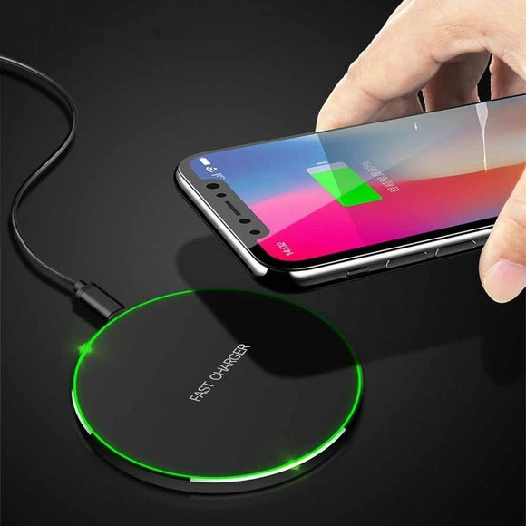 Ultra-thin Qi Wireless Charger for IPhone X/XS Max XR 8 Plus for Samsung S9 S9+ Note 9 8 S9 S8 S7 S6 Edge Desktop.