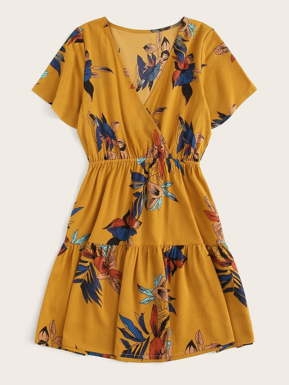 Plus Surplice Front Floral Print Dress
