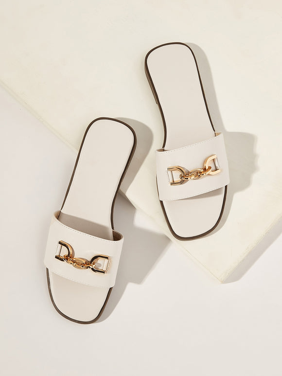 Buckle Decor PU Flat Slippers