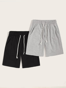 Men Heather Knit Slant Pocket Drawstring Shorts 2PCS