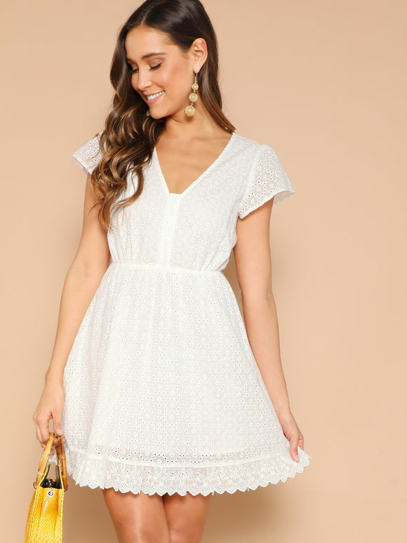Half Button Scallop Hem Schiffy Flare Dress