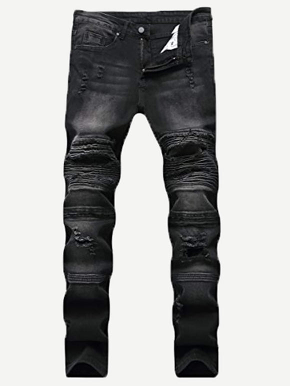 Men Cut And Sew Destroyed Jeans
