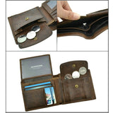 Leather Men Wallets with Coin Pocket.