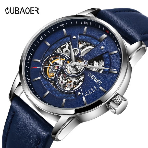 Men's  automatic mechanical leather watch.
