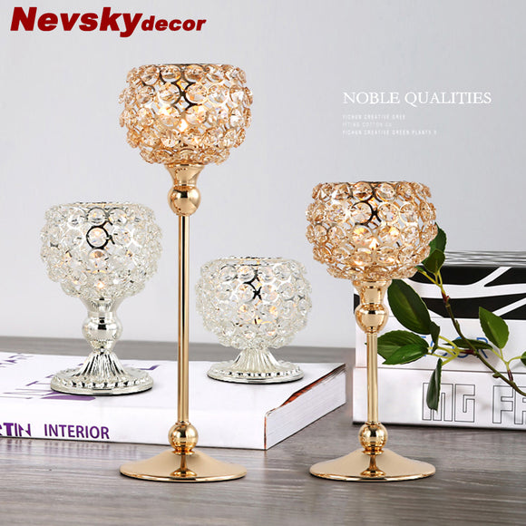 Modern golden brass Crystal Candlestick  Holders