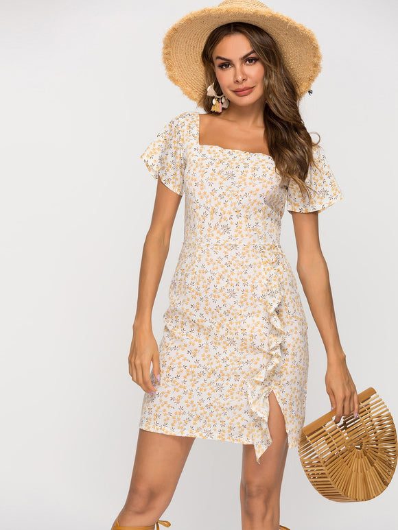 Ditsy Floral Ruffle Trim Dress