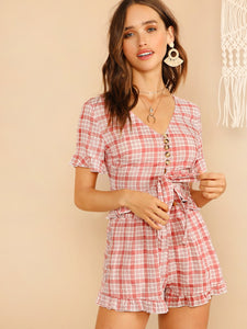 V-neck Knot & Button Front Plaid Top & Shorts Set