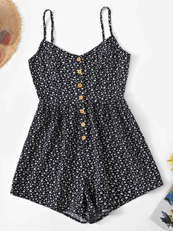 Ditsy Floral Button Front Cami Romper