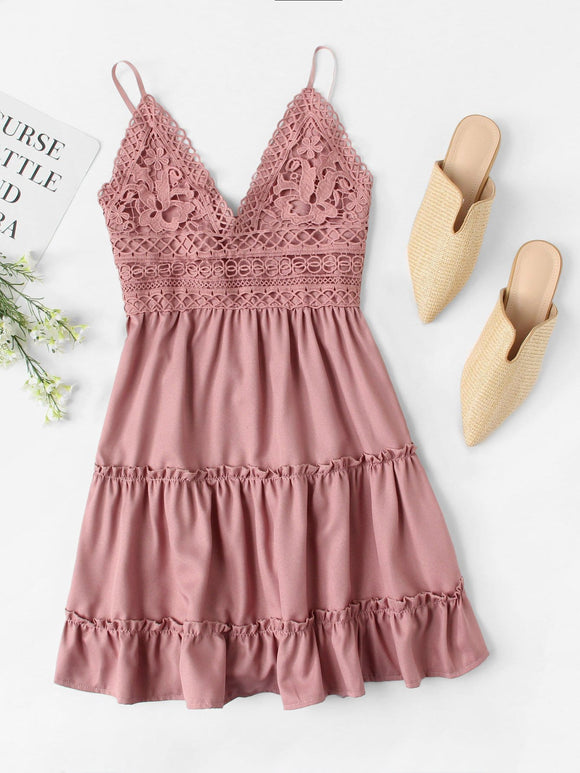 Lace Panel Tiered Seam Cami Dress