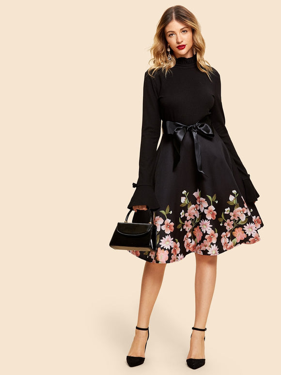 Frill Neck Belted Flare Dress