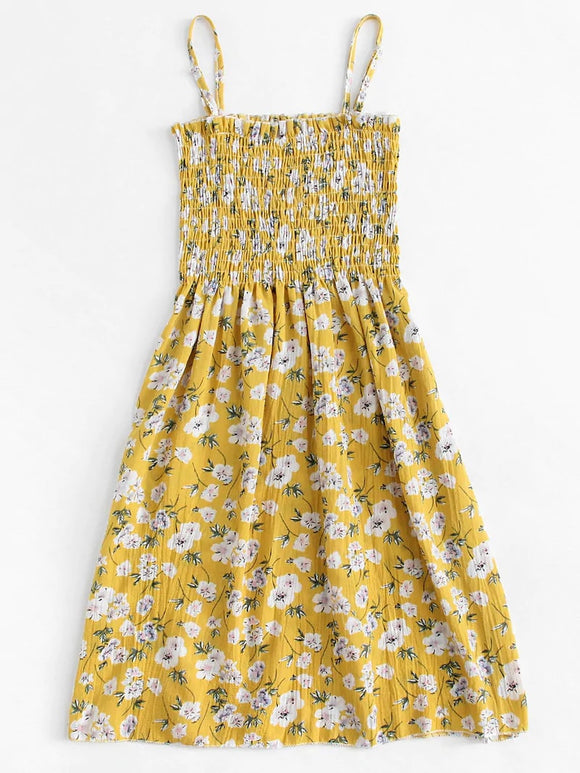 Plus Ditsy Floral Shirred Cami Dress
