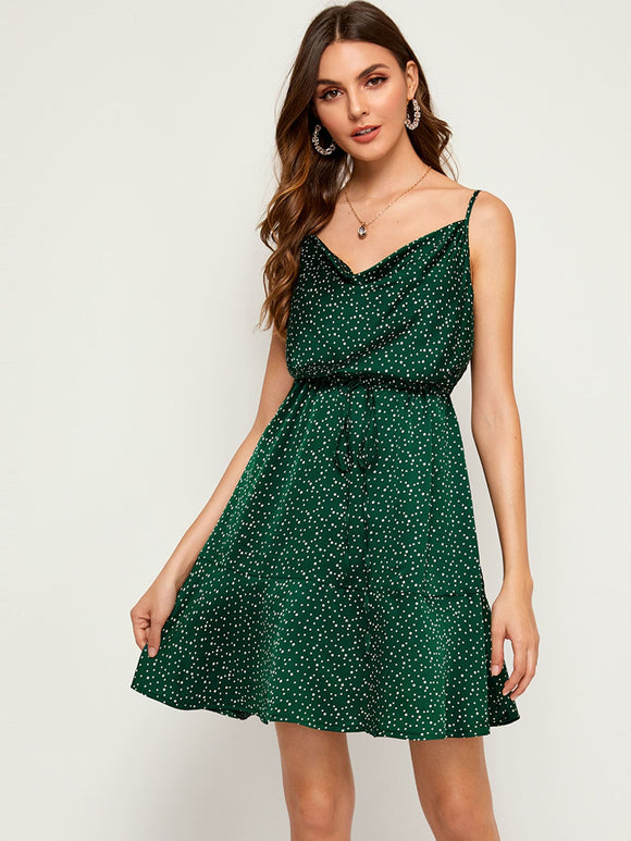 Polka Dot Print Ruffle Hem Cami Dress