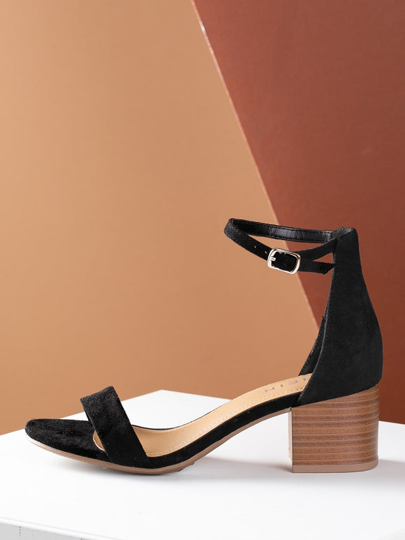 Open Toe Stacked Chunky Heel Thin Strap Sandal