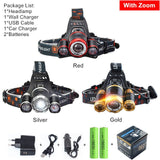 Zoomable 15000Lm T6 Head Flashlight.